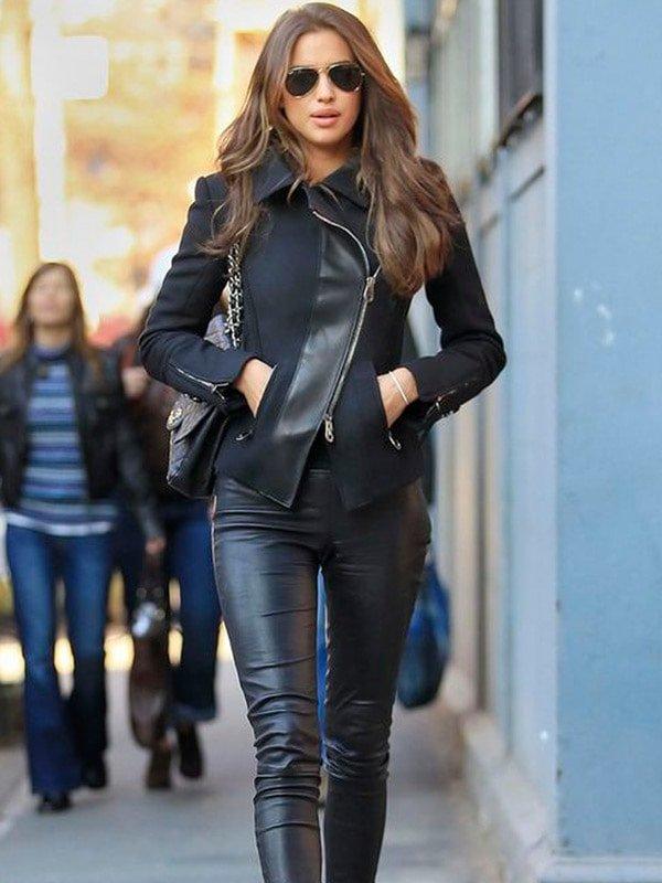NY Streets Irina Shayk Leather Jacket