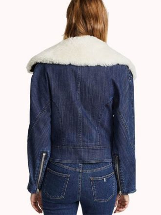 Sofia Carson Pretty Little liars Fur Collar Denim Jacket