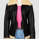 Womans Black Sherarling Bomber Leather Jacket