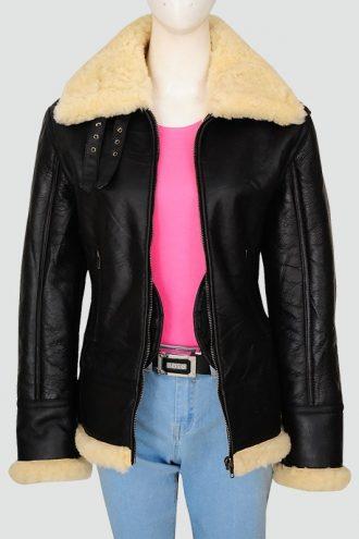 Womans Black Sherarling Bomber Leather Jacket