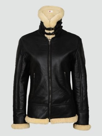 Womans Sherarling Black Leather Jacket