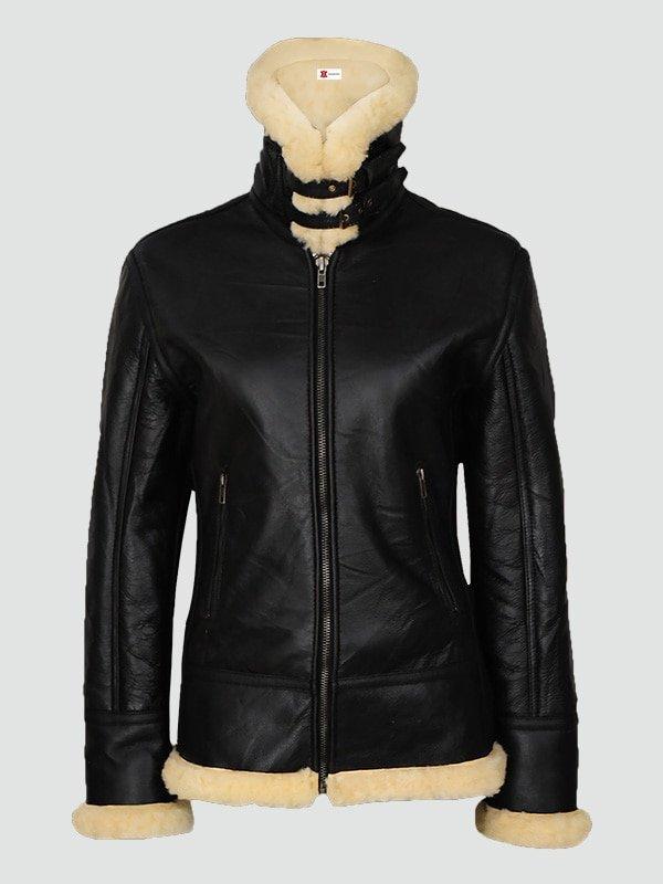 Womans Sherarling Black Leather Jacket