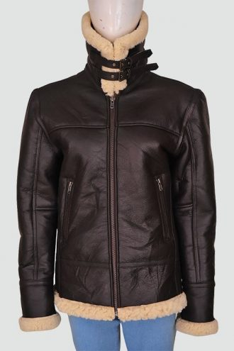 Women Aviator Bomber Leather Jacket