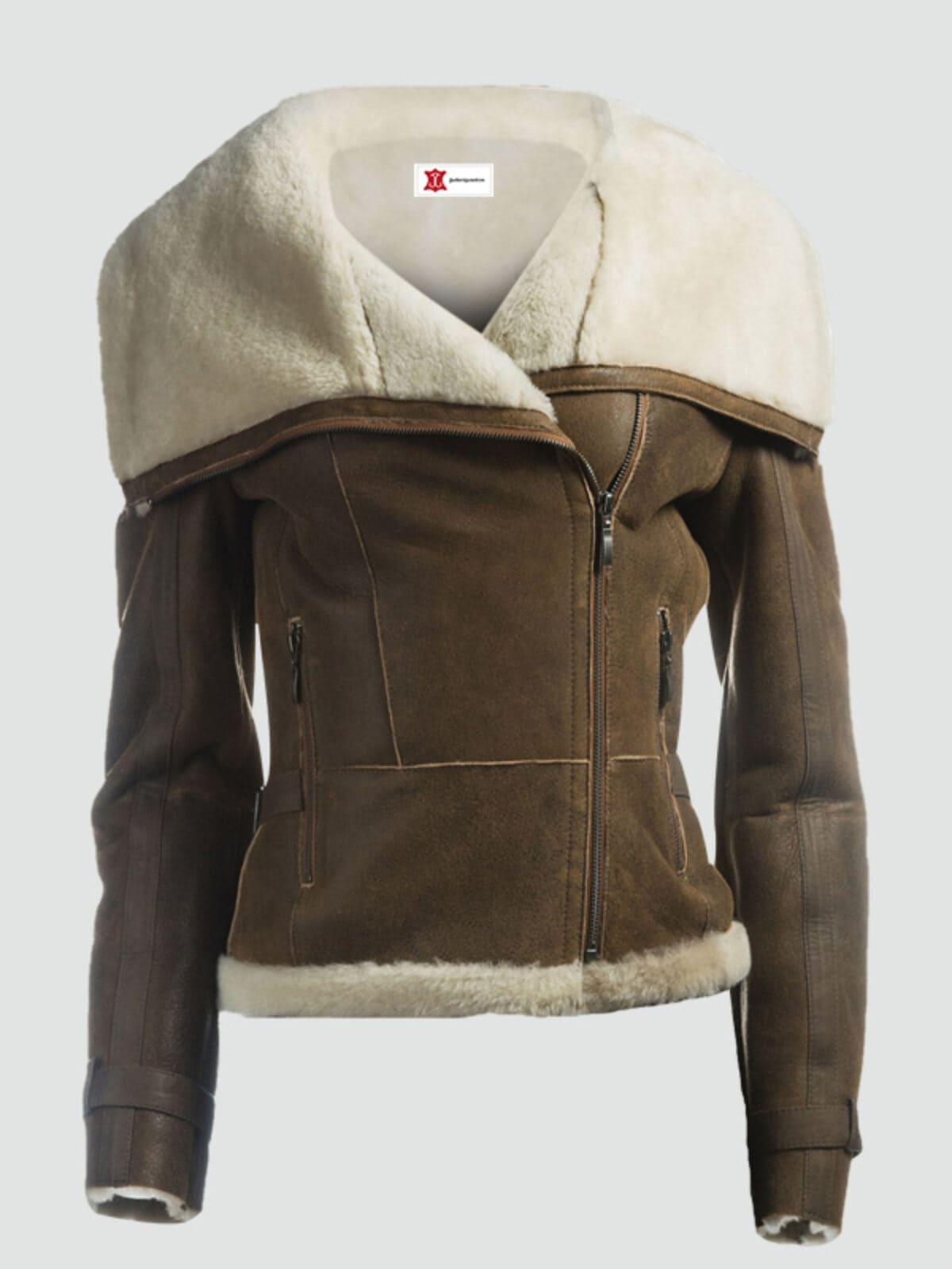Women Fur Collar Brown Leather Jacket