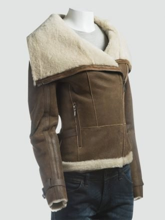 Women Fur Collar Shearling Brown Jacket