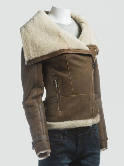 Women Fur Collar Shearling Brown Jacket