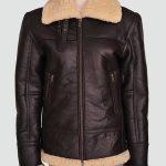 Women Shearling Aviator Bomber Jacket
