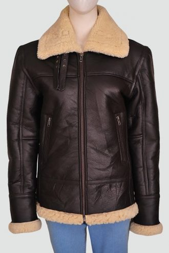 Women Shearling Aviator Bomber Jacket