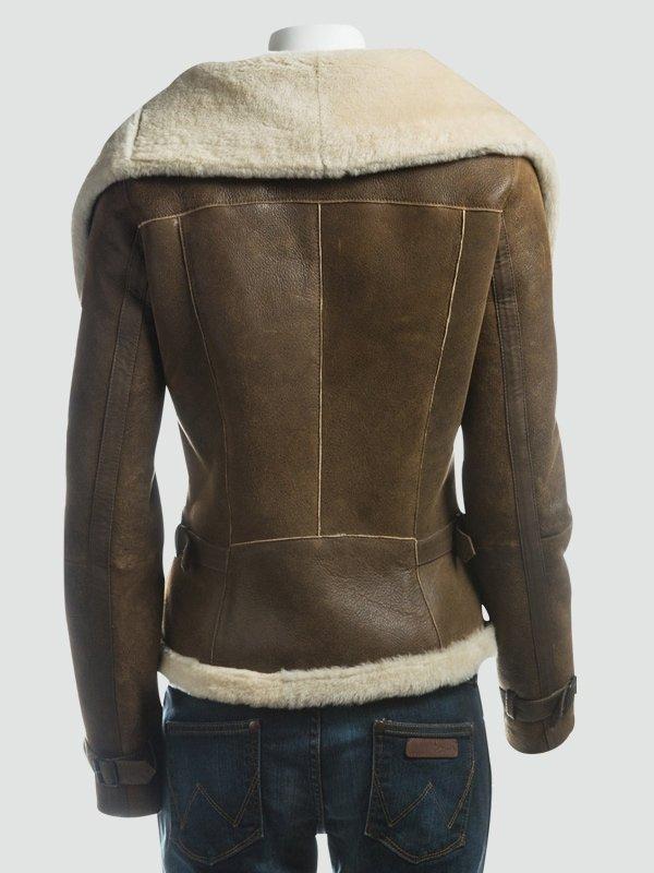 Women Wide Fur Collar Leather Jacket