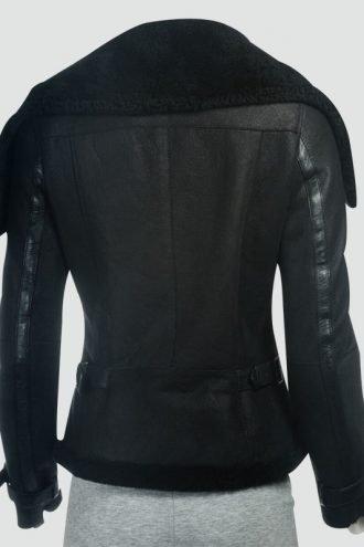 Womens Black Sheepskin Large Collar Jacket