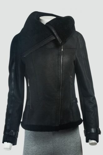 Womens Sheepskin Large Collar Black Leather Jacket