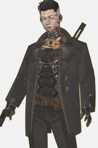 Apex Legends CryptoThe Hired Gun Black Cotton Coat