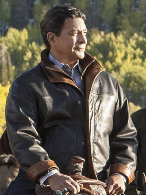 Gil Birmingham Yellowstone Brown Leather Jacket