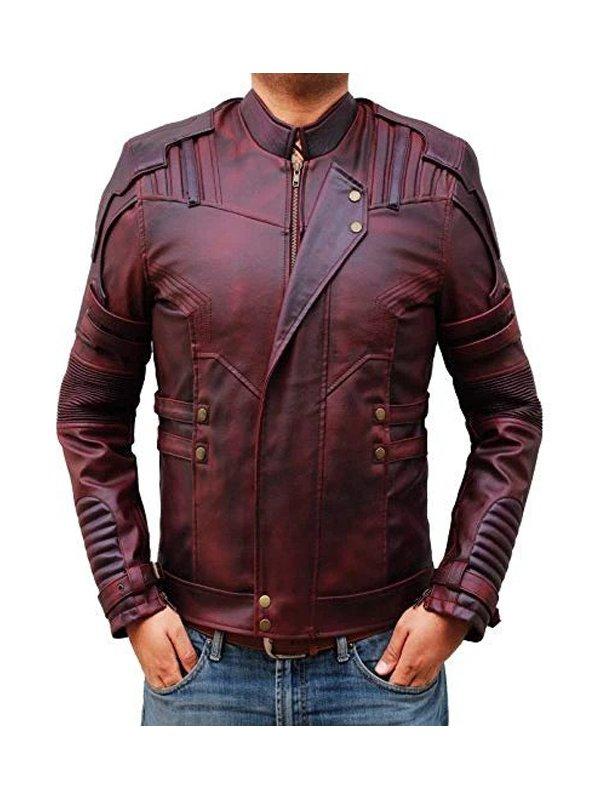 Guardians of The Galaxy 2 Chris Pratt Maroon Leather Jacket
