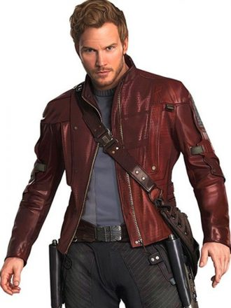 Guardians of The Galaxy 2 Chris Pratt Maroon Leather Jacket