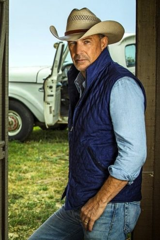 John Dutton Yellowstone Quilted Blue Vest
