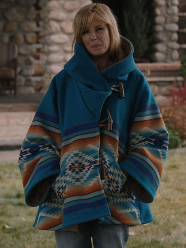 Kelly Reilly Yellowstone Blue Hooded Coat