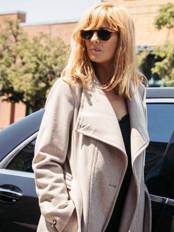 Kelly Reilly Yellowstone White Wool Coat