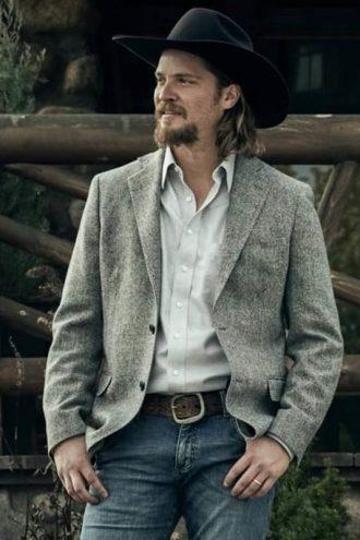 Luke Grimes Yellowstone S03 Grey Blazer