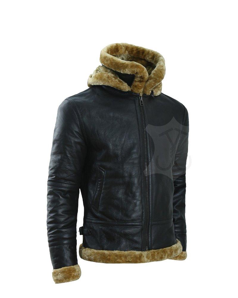 Mens Black Sheepskin Shearling B3 Bomber Leather Jacket