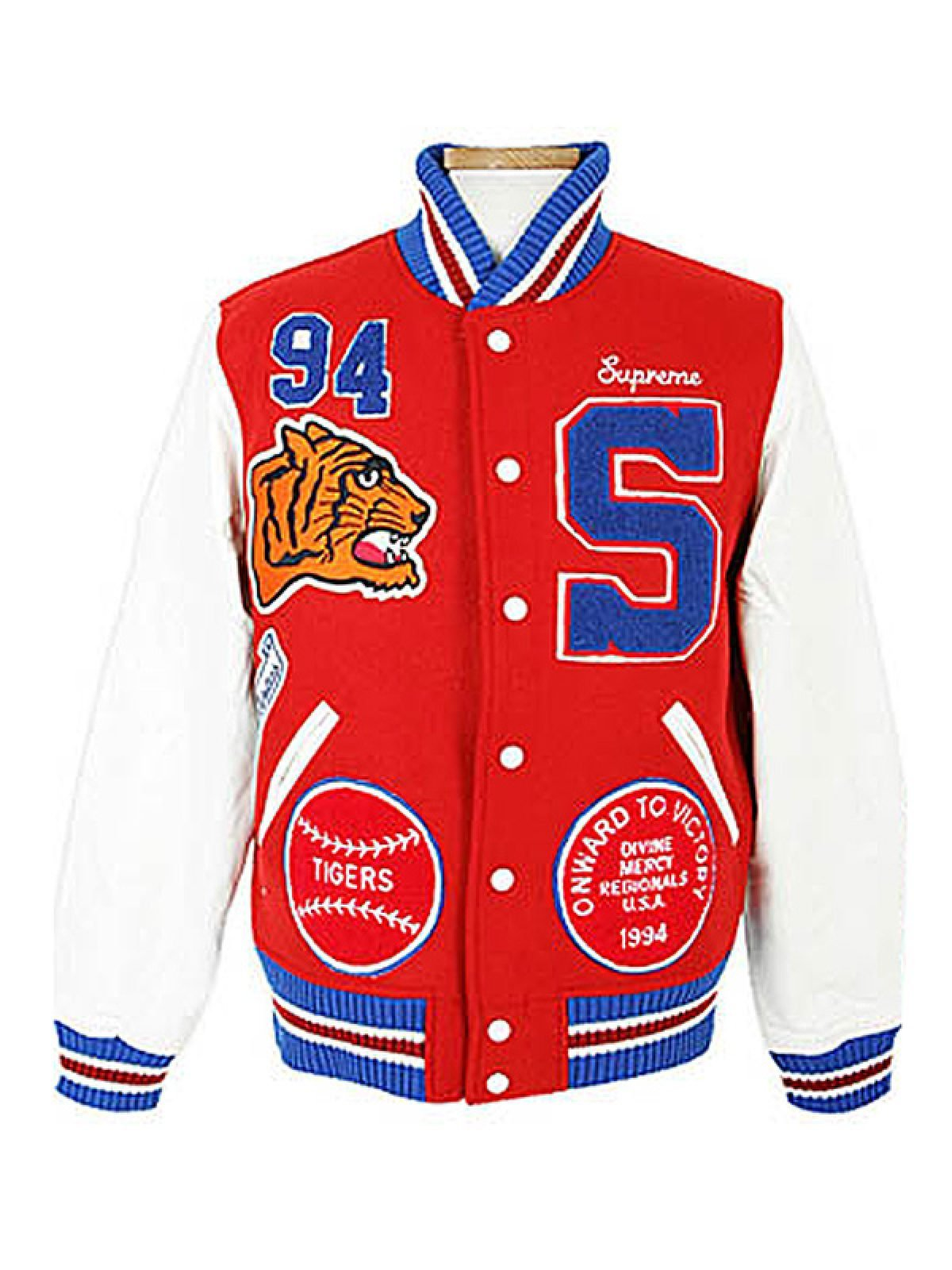 Mens Supreme Tiger Logo Varsity Jacket
