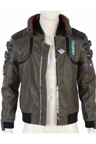 Samurai Cyberpunk 2077 Brown Leather Jacket
