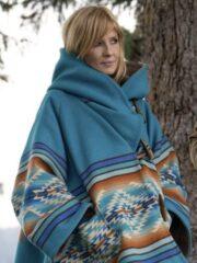 Tv Series Yellowstone Beth Dutton Blue Wool Blanket Coat