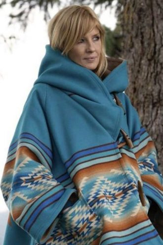 Tv Series Yellowstone Beth Dutton Blue Wool Blanket Coat