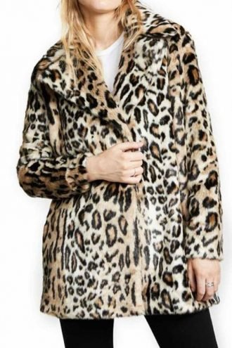 Tv Series Yellowstone Kelly Reilly Shearling Cheetah Coat