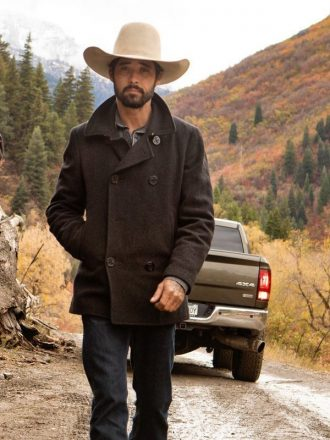 Tv Series Yellowstone Walker Black Wool Peacoat