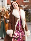 Anne Hathaway Modern Love Brown Leather Coat