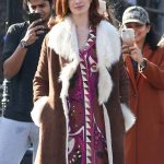 Anne Hathaway Modern Love Brown Shearling Coat