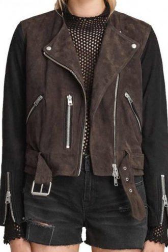Arrow Black Siren Suede Biker Leather Jacket