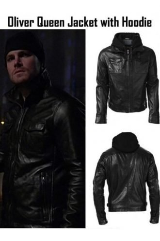 Arrow Oliver Queen Hooded Leather Jacket