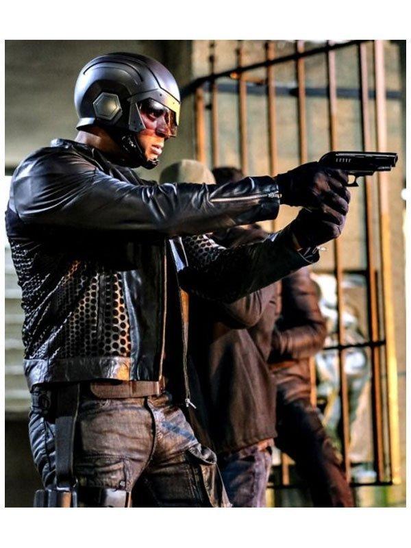 Arrow Season 4 David Ramsey Black Leather Biker Jacket
