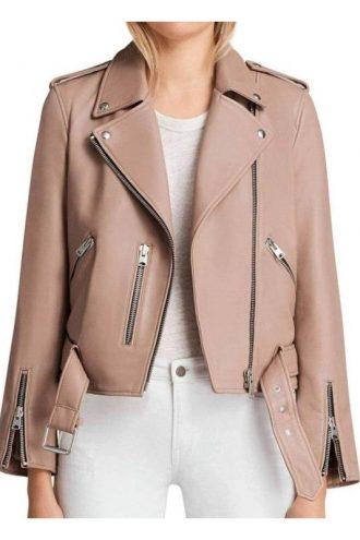 Arrow Season 6 Willa Holland Pink Leather Biker Jacket