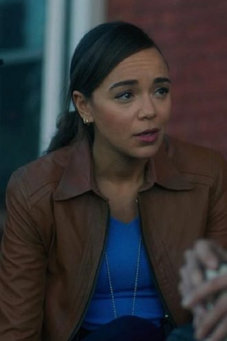 Ashley Madekwe The Umbrella Academy Brown Leather Jacket