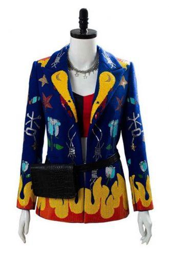 Birds Of Prey Margot Robbie Blue Wool Blazer