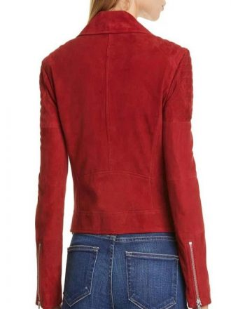 Candace Cameron Bure Fuller House Red Suede Leather Jacket