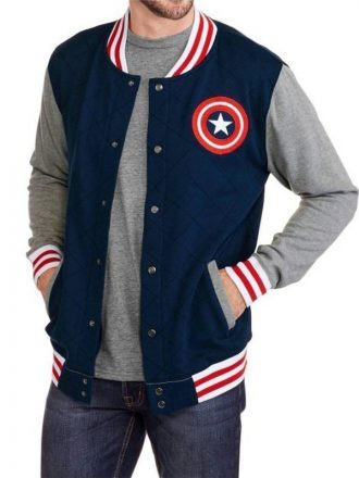 Captain America Blue Varsity Bomber Jacket