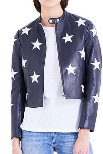 Cheryl Blossom Riverdale Star Printed Leather Jacket