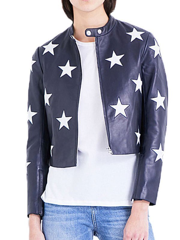 Cheryl Blossom Riverdale Star Printed Leather Jacket
