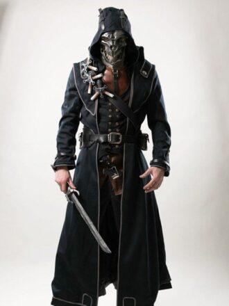 Dishonored Corvo Attano Black Leather Hooded Coat