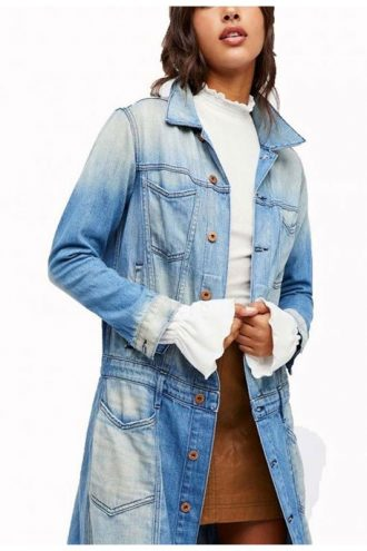 Eliza Faria Arrow Season 07 Blue Denim Coat