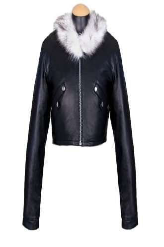Final Fantasy Squall Leonhart Fur Collar Black Leather Jacket