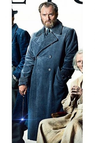 Jude Law Fantastic Beasts Albus Dumbledore Blue Trench Coat