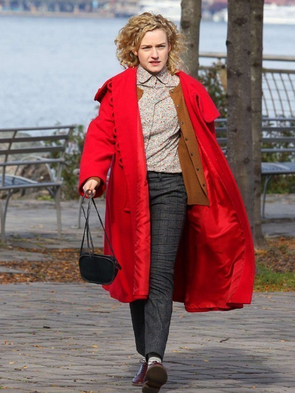 Julia Garner Modern Love Hooded Wool Coat