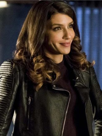 Juliana Harkavy Arrow Black Padded Leather Biker Jacket
