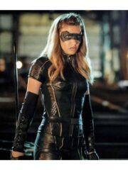 Juliana Harkavy Arrow Season 6 Black Leather Jacket