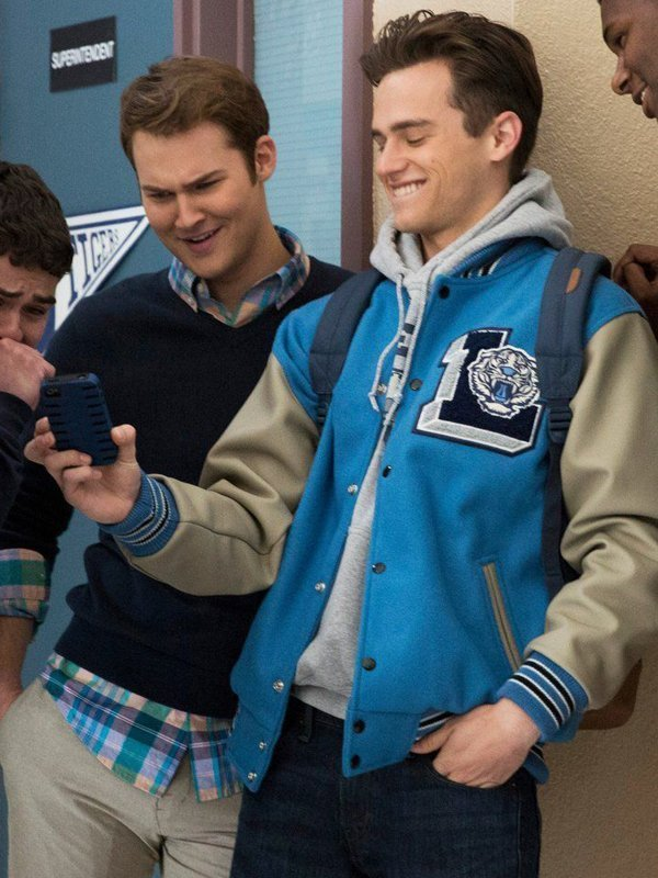 Justin Foley 13 Reasons Why Blue Baseball Jacket